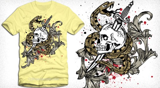 Skull and Snake Vector T-Shirt Design