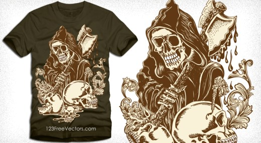 Vector T-Shirt Design with Skull Man