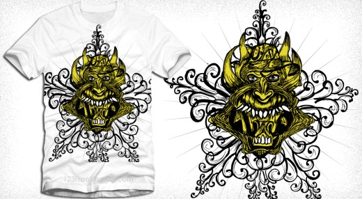 Vector T-Shirt Design with Demon Face