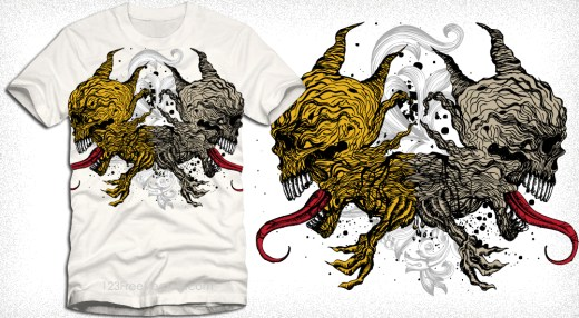 Vector T-Shirt Design with Demon Skull and Floral