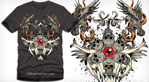 Vector T-Shirt Design with Skull, Eagle and Snake