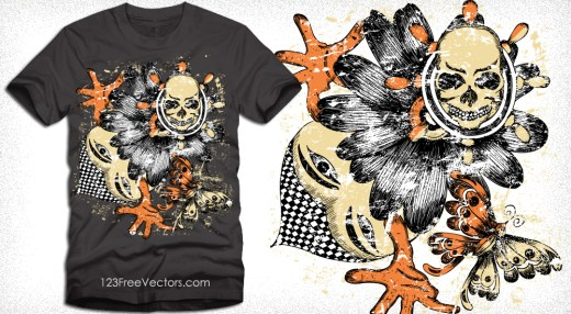 Vector T-Shirt Design with Skull and Butterfly