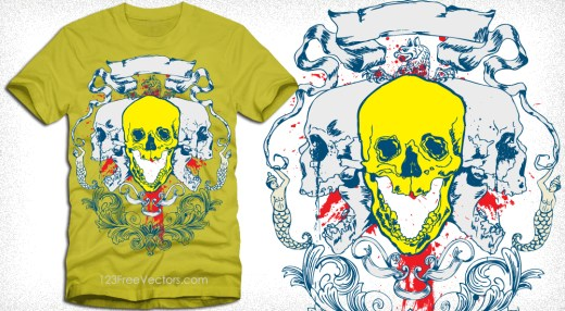 Tee Vector Design with Skull and Ribbon Scroll
