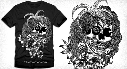 Horror Skull with Flower Vector T-Shirt Design