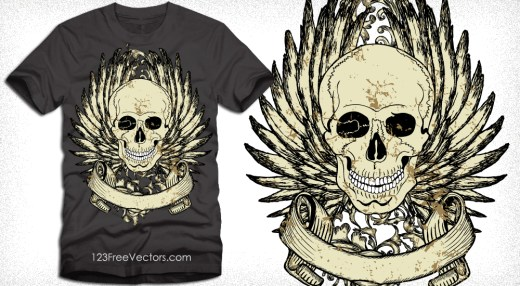 Vector T-Shirt Template with Winged Skull and Banner