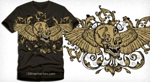 Vector Shirt Design with Winged Skull and Flowers