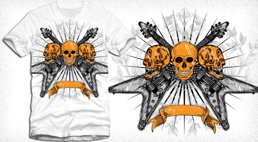Vector Tee Design with Skull, Guitar, Floral and Banner
