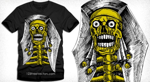 Vector T-Shirt Graphics with Skeleton Skull
