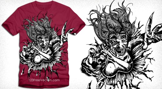 Vector T-Shirt Design with Flying Demon Woman