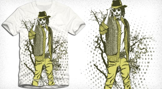 Skull Man with Tree Vector Art T-Shirt Design