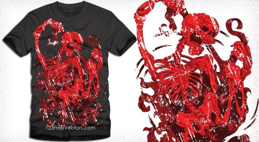 Devil Skeleton T-Shirt Design Vector