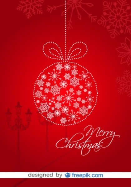 Christmas Card Red Background and Christmas Ball Free Vector