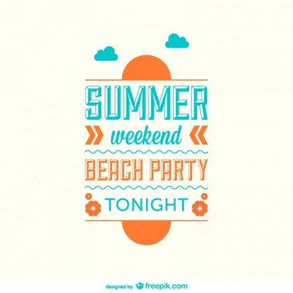 Flat Summer Minimalist Poster Free Vector