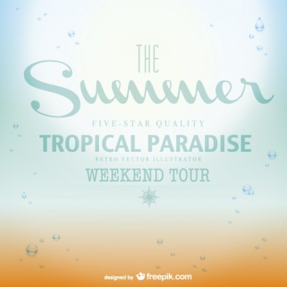 Tropical Paradise Summer Poster Free Vector