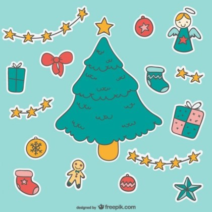 Christmas Cartoon Stickers Free Vectors