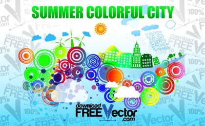 Summer Colorful City Free Vector