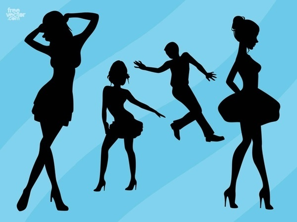Dance Silhouettes Free Vector