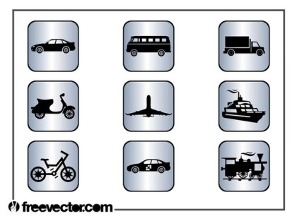 Square Transport Icons Free Vector