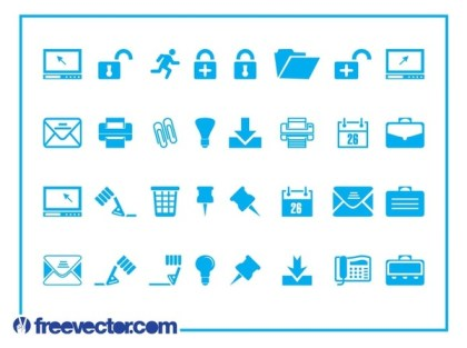 Tech and Business Icons Free Vector