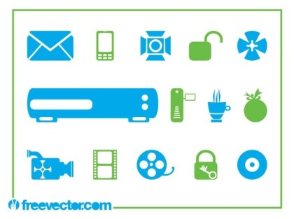 Tech Symbols and Icons Free Vector