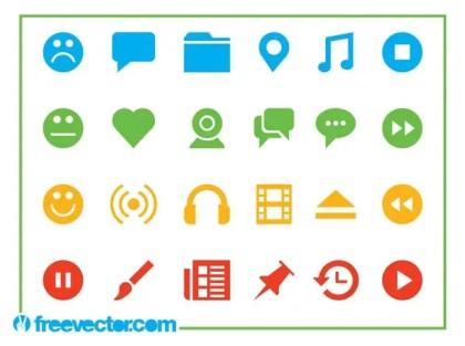 Web Icons Set Free Vector