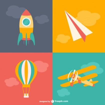 Air Transport Cartoons Free Vector