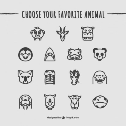 Animals Icons Pack Free Vector