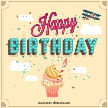 Birthday Card with a Cupcake Free Vector