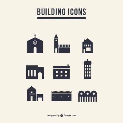 Building Icons Silhouette Pack Free Vector