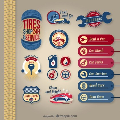 Car Service Pack Free Vector