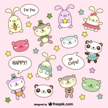 Cartoon Teddy Bear Bunny Animal Pictures Free Vector