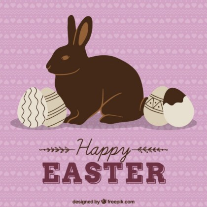 Chocolate Easter Bunny and Eggs Free Vector