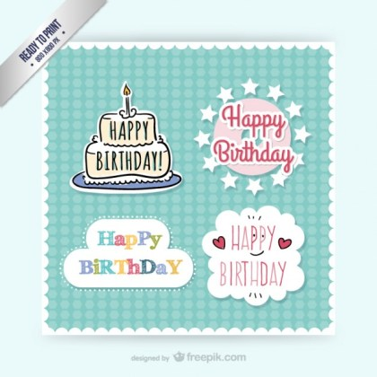 Cmyk Birthday Stickers Free Vector
