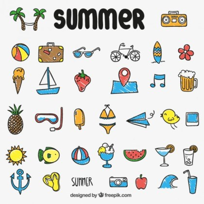 Colorful Summer Icons Free Vector