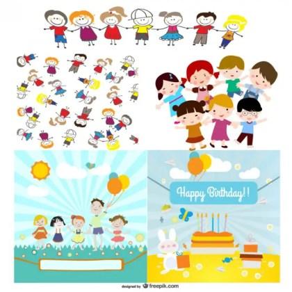 Cute Cartoon Characters Free Vector