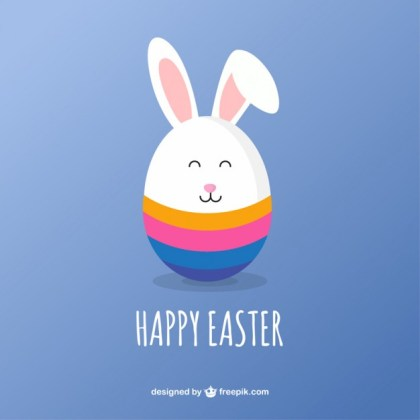 Cute Easter Bunny Card Free Vector
