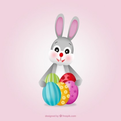 Cute Easter Bunny with Eggs Free Vector