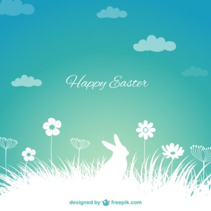 Easter Background with Bunny Silhouette Free Vector