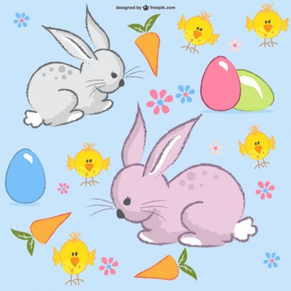 Easter Bunny Layout Free Vector