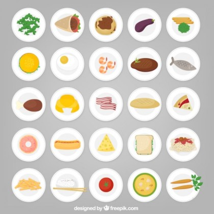 Food Icons on Plates Free Vector