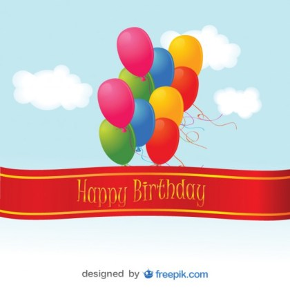 Happy Birthday Colorful Balloons Card Free Vector