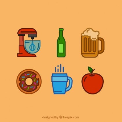 Icons of Kitchen and Food Free Vector