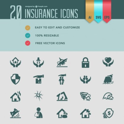 Insurance Flat Icons Free Vector