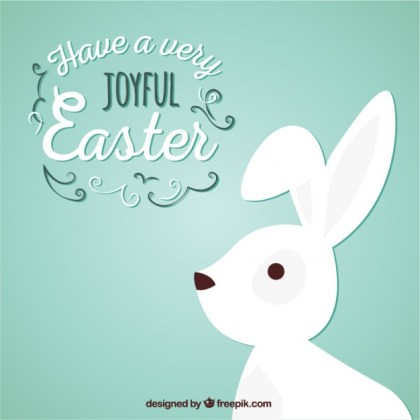 Joyful Easter with a White Bunny Free Vector