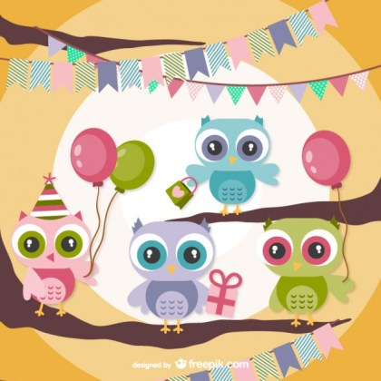 Owls Birthday Party Free Vector
