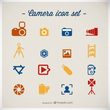 Photography Icons Flat Design Free Vector