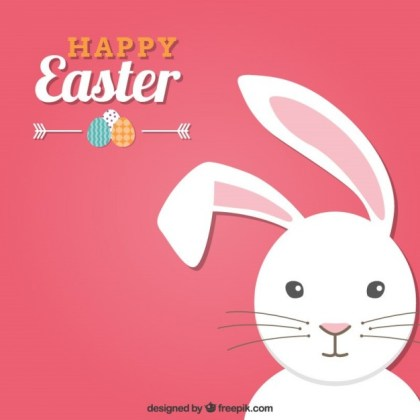 Pink Easter Card with a Bunny Free Vector