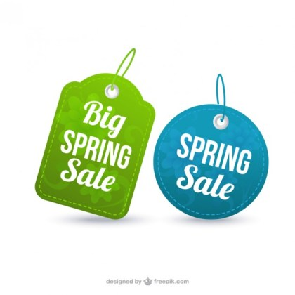 Spring Sale Labels Free Vector