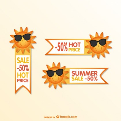Summer Cartoon Sale Tags Free Vector