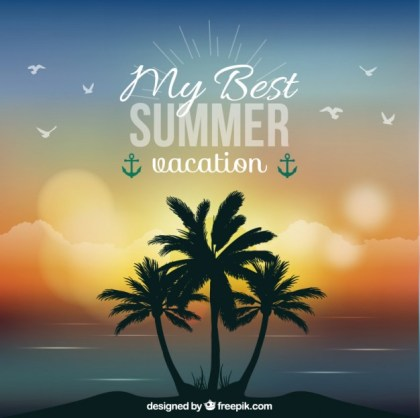 Summer Vacation Background Free Vector